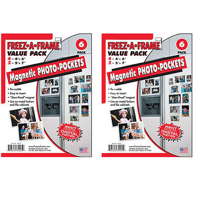 "Freez-A-Frame Magnetic Photo Frames 12 Pack Includes 8-4""x 6""+ 4- 5""x7"" Magnets"