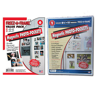 """Freez-A-Frame Magnetic Combo Pack w/ 4 - 4x6""""+2- 5x7"""" +1-8.5"""" x 11"""" Photo Frame"""