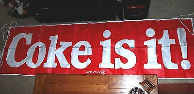 """New Old Stock!! XL Vtg 1981 Drive-Inn Coca Cola """"COKE IS IT"""" 9.5' BANNER SIGN Ad"""