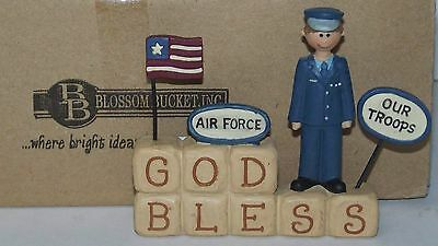 Blossom Bucket God Bless Our Troops Air Force Resin Figurine Sculpture New