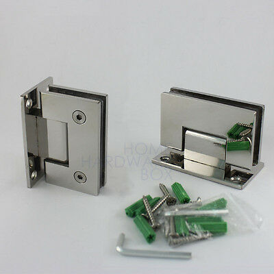 """pair glass shower door hinge chrome polished wall to glass frameless 3/8"""""""