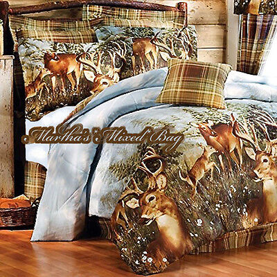WHITETAIL DEER Buck HUNTING Lodge Cabin Plaid COMFORTER SET+SHEETS Bed~in~a Bag