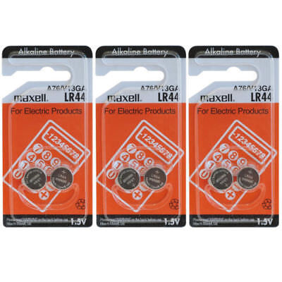 6x Maxell LR44 A76 V13GA Alkaline Button Cell Batteries for calculators Watches