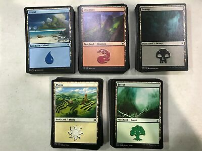 160x Basic Land Lot — MTG 32x each of FOREST, ISLAND, MOUNTAIN & SWAMP