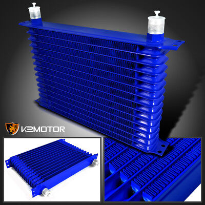 15-Row 10 An Blue Powder-Coated Aluminum Engine / Transmission Racing Oil Cooler
