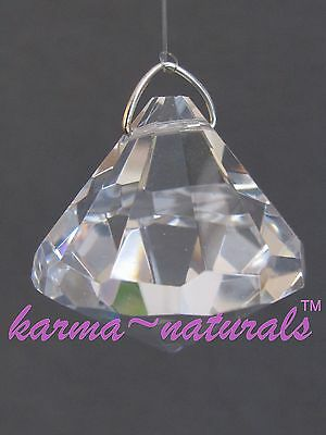 FACETED Clear CRYSTAL Prism 30 mm - Bell Drop Shape Feng Shui Healing Reiki