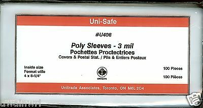 """Poly Cover Holders Fit 4"""" x 8-1/4""""Covers, Pkg 100 - Unisafe U408"""