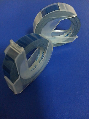 2 rolls x Dymo 3D embossing tape labels 9mm x 3m in BLUE  *Great Sales FreeShip