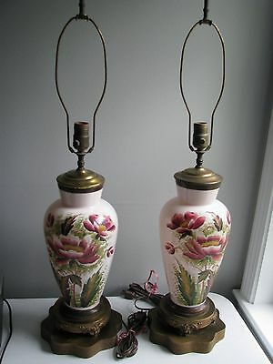 Antique Hand Painted Glass Lamps- Matching Pair, Peony