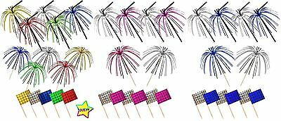 36 Foil Cocktail Party Set Bendy Straw Stick Skewers Picks & Sandwich Food Flag