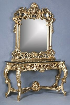 Mahogany Black Marble Gold Leaf Ornate French Boudior Large Console Table Mirror