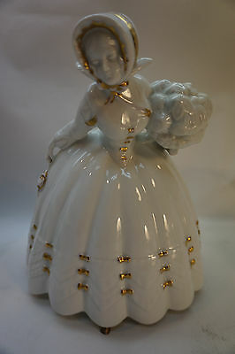 "Vintage Lady Figurine Germany Porcelain Bfs 9.5"" Tall Victorian Dress Large"