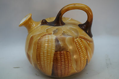 American Belleek Cac Jug Hand Painted Harvest Corn Art Porcelain Ceramic