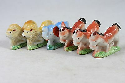 "6 Vintage Ceramic Figurine Japan Donkey Elephant Lion 2 1/2"" w     EA"