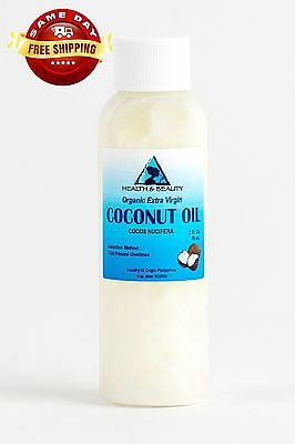 Coconut Oil Extra Virgin Unrefined Organic Carrier Cold Pressed Raw Pure 2 Oz