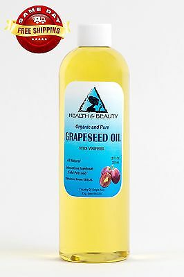 Grapeseed Oil Organic Carrier Cold Pressed 100% Pure 12 Oz