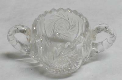 Antique American Brilliant Period Cut Glass Sugar Bowl with Handles ca.1900's