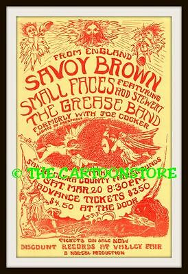 """SAVOY BROWN, SMALL FACES, GREASE BAND -MINI-POSTER PRINT 7"""" x 5"""""""