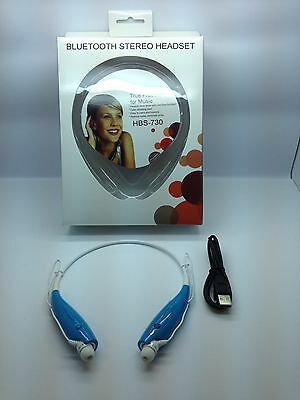 LOT OF 10 NEW BLUETOOTH STEREO HEADSET HBS-730 AROUND THE NECK UNIVERSAL BLUE