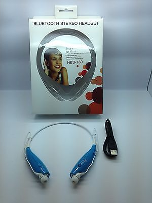 Lot Of 10 New Bluetooth Stereo Headset Handsfree Around The Neck Universal Blue