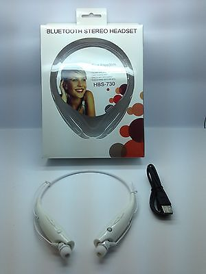 Lot Of 2 New Bluetooth Stereo Headset Handsfree Around The Neck Universal White