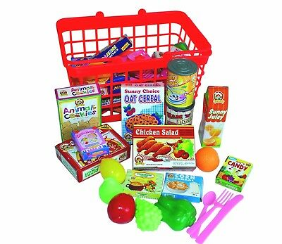 Kids Supermarket Shopping Basket with Groceries Childrens Food Role play toy