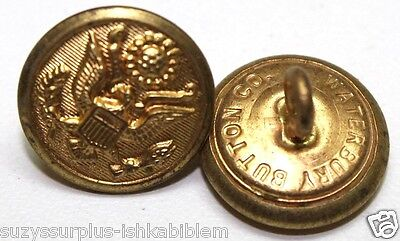 WWII US Great seal mil spec Gold colored Buttons 24L=5/8in =16mm Lot of 2 B7929