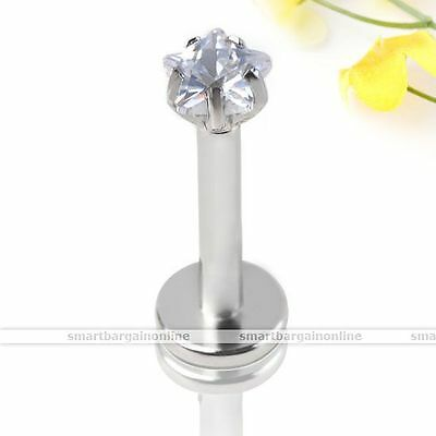 16g 316L Steel Clear Star Zirconia Gem Labret Monroe Lip Ring Tragus 6mm Bar