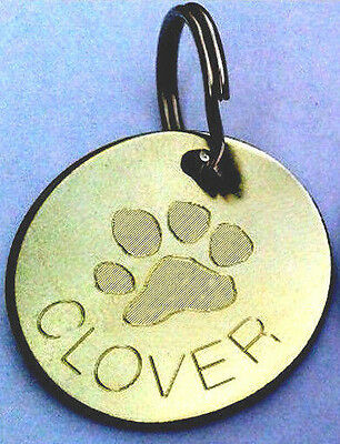 Engraved Pet Tags ID Collar Tag Cat Dog Puppy Brass Paw Heart Bone Fish Skull