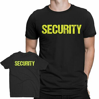 Mens Black & Neon Security T-Shirt - Screen Printed Front Back Event Staff Tee