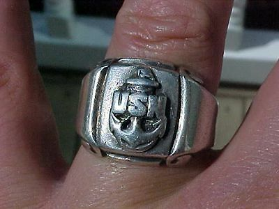 Original Wwii Heavy Sterling Usn Navy Ring - J/o Hallmarked