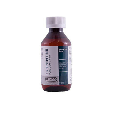 Humco Turpentine Pure Gum Spirits, 4 OZ Solvent for removing paints and waxes