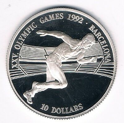 10 Dollars Cook Islands Olympic Games 1992 Barcelona 1990 10g 925 Silber PP (2)