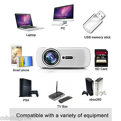 HD 1080P Mini Multimedia 3D LED Projector 1200 lumens HDMI/VGA/AV/ATV PC Mobile