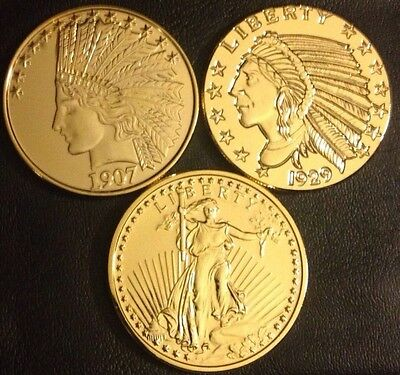 Lot Of 3 .999 Fine Copper COINS 1oz Finished In 24k GOLD 1907 1929 Liberty Bulk