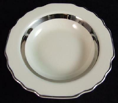 2 WS GEORGE Canarytone w Platinum GEO266 RIMMED SOUP BOWLS Mint FREE SHIP!