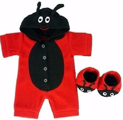 Teddy Bear Clothes fit Build a Bear Red Bug Onesie Slippers See My Outfits Back!