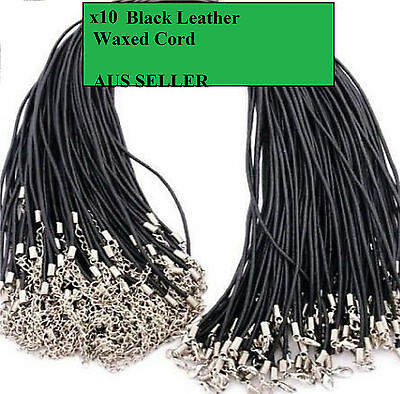 10 X Black Leather Necklace Cord, 50Cm With Lobster Clasp + Extension