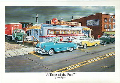 """"""" A Taste of the Past """" by Ken Zylla, Old Cars, Diner -- Art Print, NOT Postcard"""