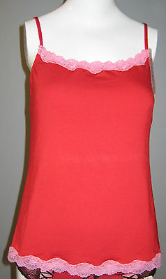 New Jezebel Size S Red Camisole with Pink Lace Accent