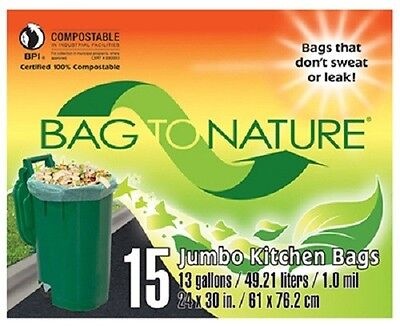 """Indaco, Bag To Nature, 30 Count, 13 Gallon, 24"""" x 30"""", Compost Tall Kitchen Bag"""