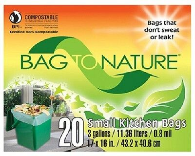 "Indaco, Bag To Nature, 40 Count, 3 Gallon, 17"" x 16 "", Compost Small Kitchen Bag"