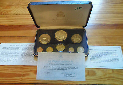 1974 Barbados 8 Coin Proof Set Stuck by The Franklin Mint