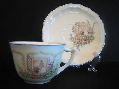 Cup & Saucer WS George Rainbow Breakfast Nook Cream Silver Canary Tone