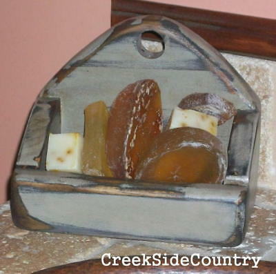 SHABBY cottage  CHIC  Finish Grungy Old Look Wood  SOAP DISH
