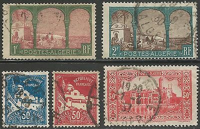 1929-1934 Algeria (French). Assortment of 5v. All FU.
