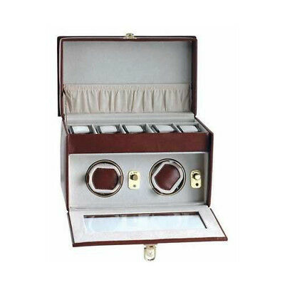 AB Collezioni Lotus Watch Winder Self Winding for 2 Automatic Watches - Brown