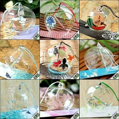 Japanese Glass Pendant Chain Wind Chimes Edo Furin Bell Summer Cool For Gifts