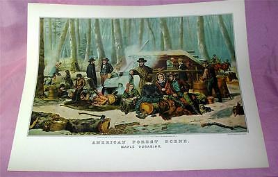 1940's Vtg Reproduction Lithograph Currier & Ives American  Forest Scene