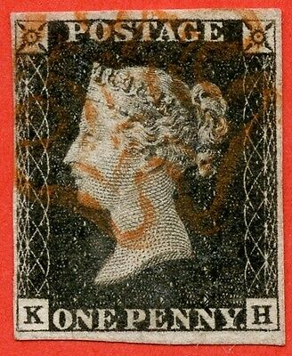 """SG. 3. A1 (3). AS2. """" KH """". 1d grey-black ( worn plate ). Plate 1a. A fine used"""
